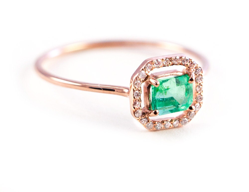 emerald ring micropave ring ring gold emerald