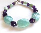 Amazonite and Amethyst Gemstone Bracelet in Sterling Silver, Aqua Purple Stone Bracelet