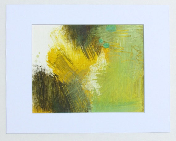 """Matted Contemporary Abstract Art, green, yellow, 8.5 x 10"""" original fine art -- """"Painting 19"""""""