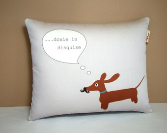 Wiener Dog Dachshund Pillow - Doxie in Mustache Disguise in Modern Gray