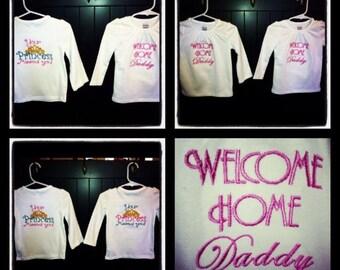 Dual side: child military homecoming shirt