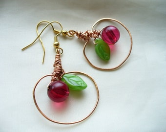 Copper Wire Wrapped Apple Shaped Earrings
