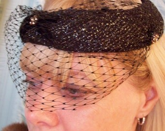 Kentucky Derby Black Hat ladies 1950's wedding in black with net Sexy wedding theater  madmen formal church horse race