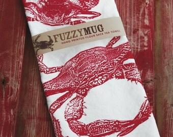 Crab Tea Towel in Red - Hand Printed Flour Sack Tea Towel