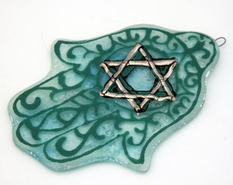 Home Blessing  Hamsa Jewish Judaica  kabbalah Art  Turquoise  azure Fused Glass by virtulyglass