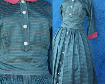 For Sale Vintage 50s 1950s Rockabilly Striped Full Skirt Shirtwaist Pink Cotton Day Dress Pinstriped