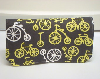 20% Off Fabric Coupon Organizer Holder /Budget Organizer Holder Wallet - Bicycle in Gray and Yellow