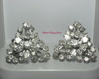 Glitzy Rhinestone Earrings Sparkling 1950s Vintage Jewelry