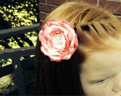 Beautiful Handmade Satin Rose Hair Flower clip ~ Hot Pink and Pink ~ White Glass Pearl Center Bridal Flower Girl Clip