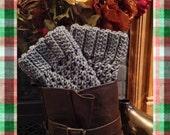 Hand Crochet Boot Cuffs in grey