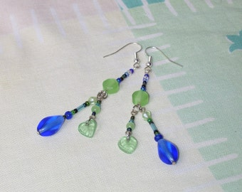 Blue and green dangle earrings