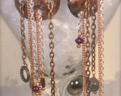 One of a Kind Bohemian Copper and Chain Statement Earrings