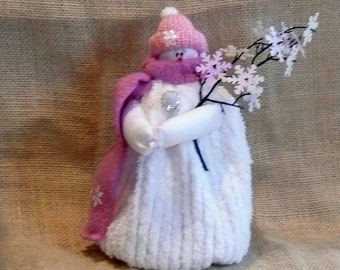 Pink Snow Girl Small Chenille Snowman