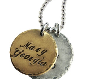 Personalized Men's Mixed Metal Necklace Hand Stamped Silver and 14K Gold Names Dates Custom Engraved Daddy Dad Jewelry Artisan Handmade