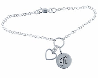 Sterling Silver Open Heart Anklet Personalized Mommy Jewelry Hand Stamped Initial Charm Custom Engraved Artisan Handmade Fine
