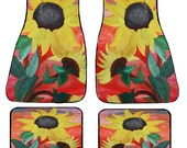 Giant Sunflowers Floral Art Car Mats front and rear from my original design