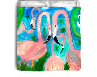 Flamingo Party comforter from my art
