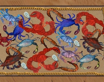Crabs, shrimp, lobster and oyster party area rug indoor-outdoor area rug