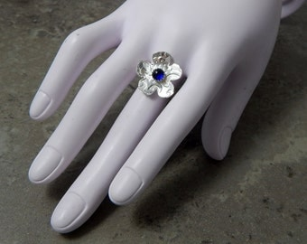 Sterling Silver and Blue Sapphire Flower Ring