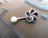 Belly Button Ring Jewelry, Dark Purple Hawaiian Flower Plumeria Belly Ring Hawaii Navel Stud Jewelry Bar Barbell Piercing Tropical Hibiscus