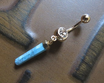 Belly Button Ring Jewelry. Turquoise Crystal Point Belly Button Ring Jewelry Howlite Dangle Charm Navel Piercing Teal Aqua Belly Button Ring