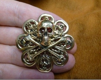 red eyed Skull and crossbones bones cross love Pirate scrolled Victorian brass pin B-SKULL-10