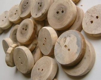 18 Wooden Buttons Assotment  1.5  inch Unfinished Wood