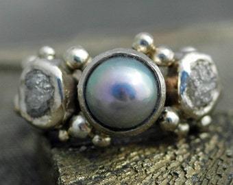 14k or 18k Recycled Gold Ring with Rough Diamonds and Saltwater Pearl- Custom Made