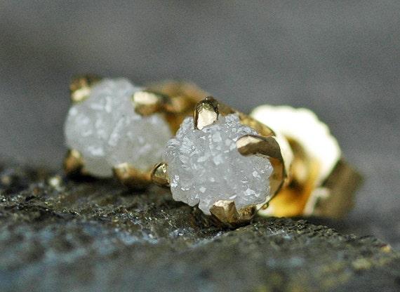 Rough Diamonds in 18k Yellow Gold Earrings