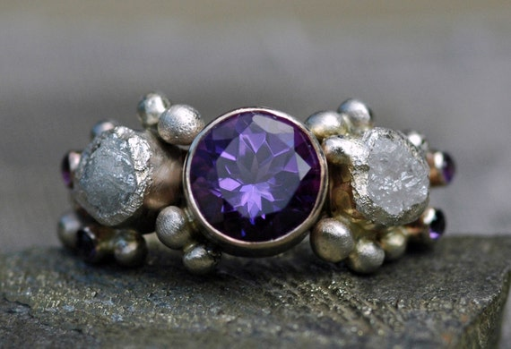 Amethyst Gemstone and Rough Diamond Ring in Recycled 14k or 18k White, Yellow, or Rose Gold- Custom Made