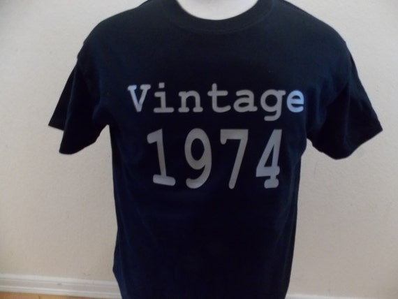 Vintage 1974 40th Birthday black adult shirt NEW Available in 74' or any year
