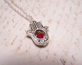 Red Hamsa Necklace. Silver finish. Foundation. Safety. Survival