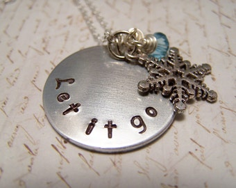 Let it Go Necklace. with Snowflake and Icy Blue Crystal.