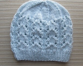 Knitting Pattern #150 Blue Hat with Lacy Columns for a Lady