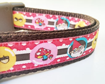 The Happy Gnome - Dog Collar / Pet Accessories / Handmade / Adjustable