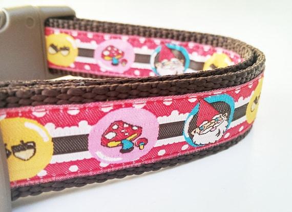 The Happy Gnome - Dog Collar / Pet Accessories / Handmade / Adjustable