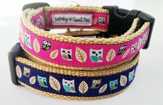 Whoooo Me - Dog Collar / Handmade / Pet Accessories / Adjutable / Owls / Gift Idea / Pet Lovers