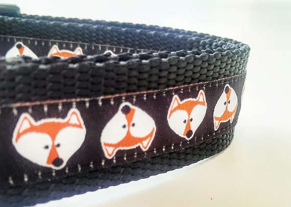 Little Foxes - Dog Collar / Handmade / Adjustable / Pet Accessories / Fox / Shiba Inu / Orange Fox / Gift Ideas / Small Dog / Large Dog