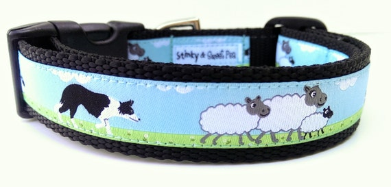Border Collie - Dog Collar / Handmade / Pet Accessories / Adjustable / Herding / Pet Lover / Gift Idea / Sheep / Large Dog Collar