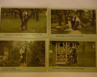 Antique Postcards, Early 1900s, Sunshine My Sunshine, Series 1816, De Witt C. Wheeler