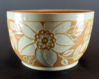 Handmade Pottery Bowl, Stoneware Bowl, Hand Carved, Floral and Leaf Motif SKU149-8