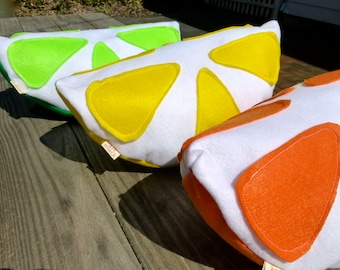 3 Citrus Pillow Set-Lemon Lime Orange Pillows-Unique Pillows-ArtSnack