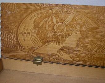 1920s Wood Box Flapper Design Flemish Pyrographic Glove Box
