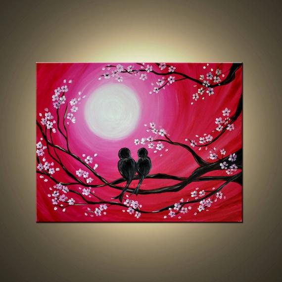 Love Birds in moonlight silhouette Painting in Magenta pink