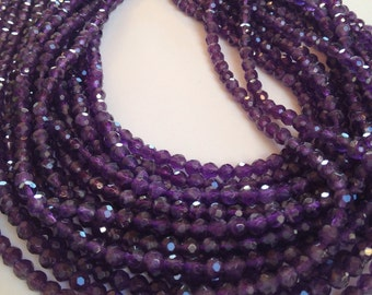 "Amethyst 4mm faceted round beads full 14"" strand"