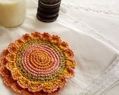 Crochet Yellow Gold and Salmon Pink Flower Coasters (set of 2)