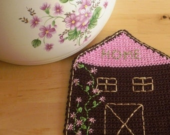 House Coaster Table Decor - Cottage Coasters - Pink House Coasters - Crochet Coasters - Set of 2 - Hand Embroidered Coasters - Gift for her
