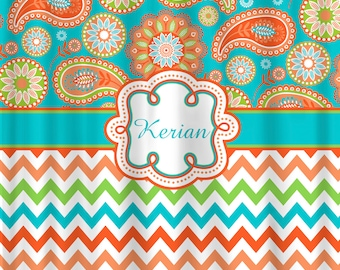 Personalized Designer Gypsy Paisley   Chevron Shower Curtain  Turquoise   Orange Peach  LimePeach shower curtain   Etsy. Yellow And Teal Shower Curtain. Home Design Ideas
