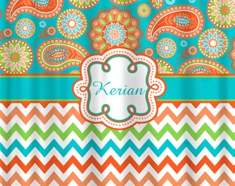Personalized Designer Gypsy Paisley & Chevron Shower Curtain -Turquoise, Orange,Peach, Lime Personalized