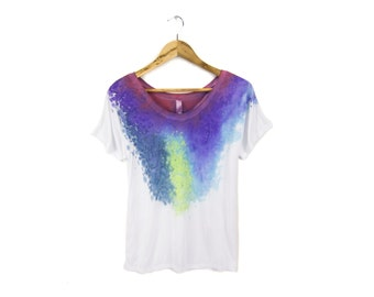 "Berry Nebula Tee - Original ""Splash Dyed"" Hand Painted Relaxed Fit Flowy Scoop Neck T-shirt in White - Women's Size S-2XL"
